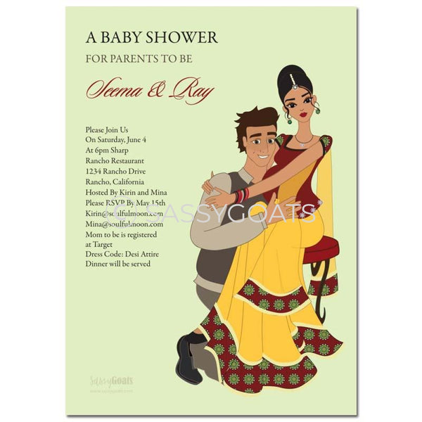 Premium Online Invitation - Indian Baby Shower Digital Couple Hugs