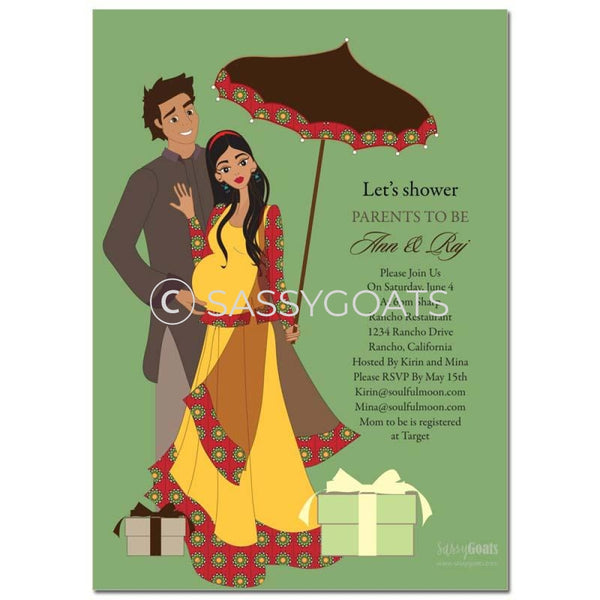 Premium Online Invitation - Indian Baby Shower Digital Fancy Umbrella