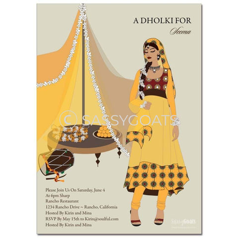 Premium Online Invitation - Indian Dholki Bridal Shower Digital Diva