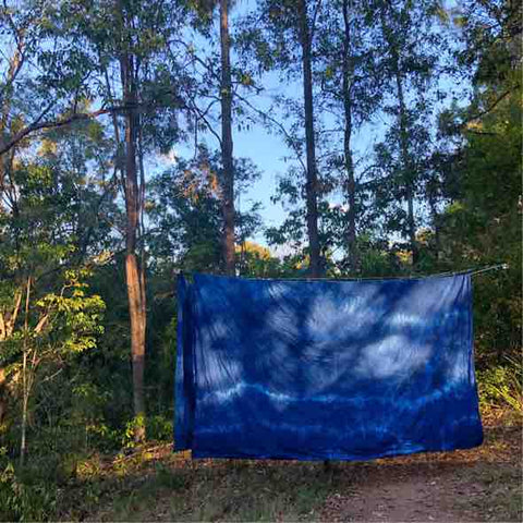 Organic Hemp King Size Indigo 1 x Flat Sheet -Sale