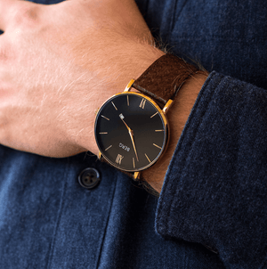 Ulriken Black Rose Gold with Salmon Leather Strap