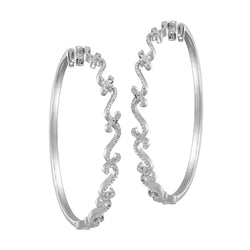 White Gold and White Diamond Hoops