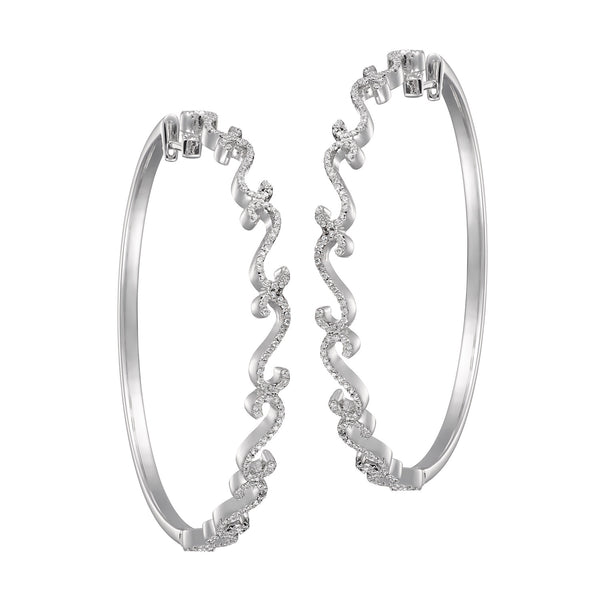 Nina White Gold and White Diamond Hoops