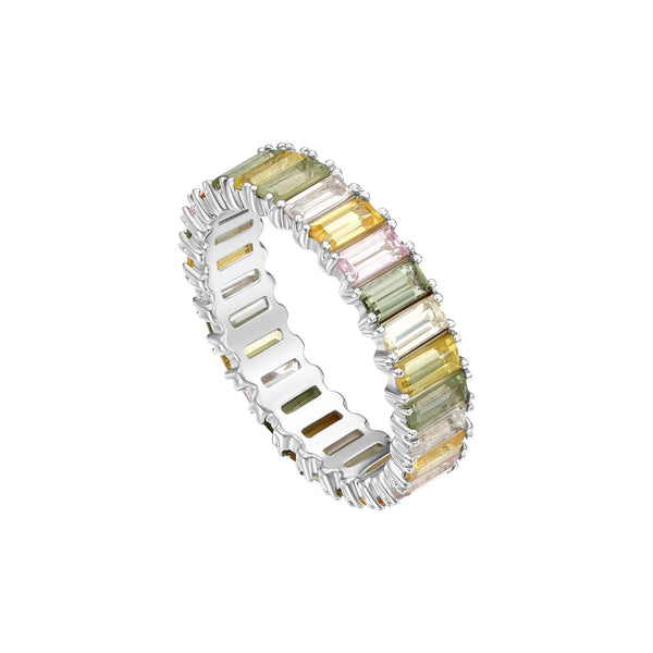 Emerald Cut Multicolored Sapphire Band