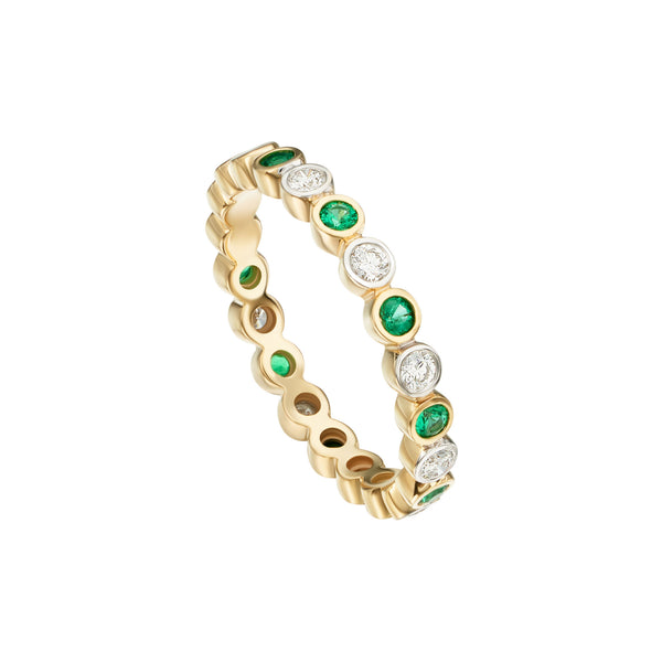 Emeralds and Diamonds in a Bezel