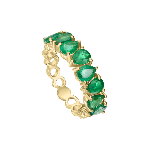 Pear Shaped Emerald Band