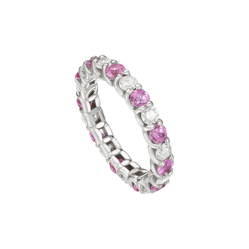 """Charmed"" Diamond and Pink Sapphire Band"