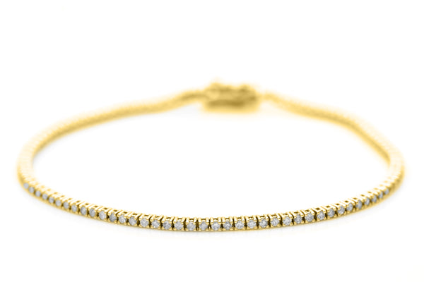 Thin Yellow Gold And White Diamond Tennis Bracelet