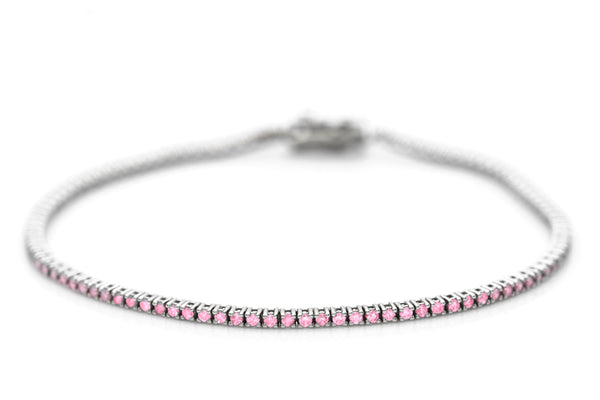 1 Carat White Gold And Pink Sapphire Tennis Bracelet