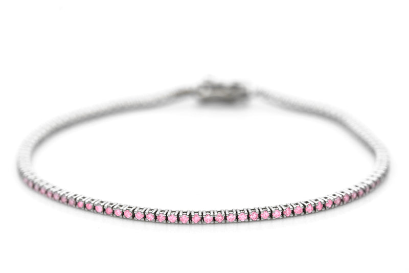Thin White Gold And Pink Sapphire Tennis Bracelet