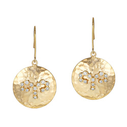 Round Yellow Gold And Diamond Earrings