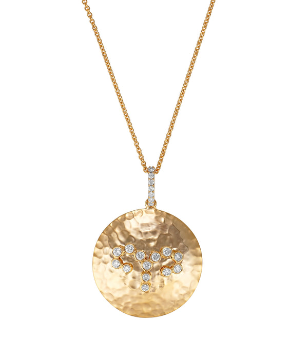 Round Yellow Gold and Diamond Pendant