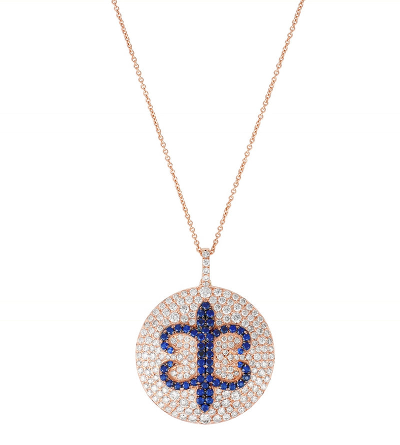 White Diamond and Blue Sapphire Pendant