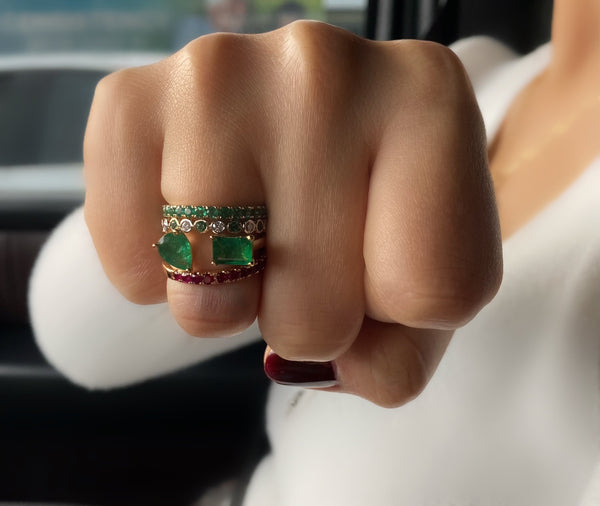 Emeralds And Gold Band