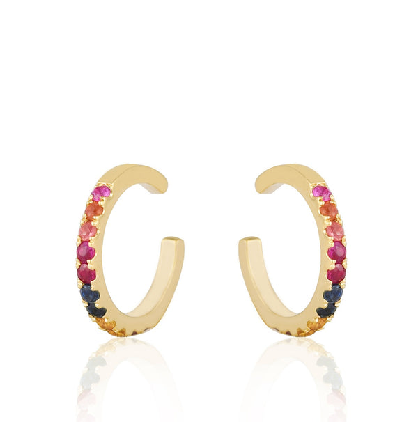 Rainbow Colored Stone Ear Cuff