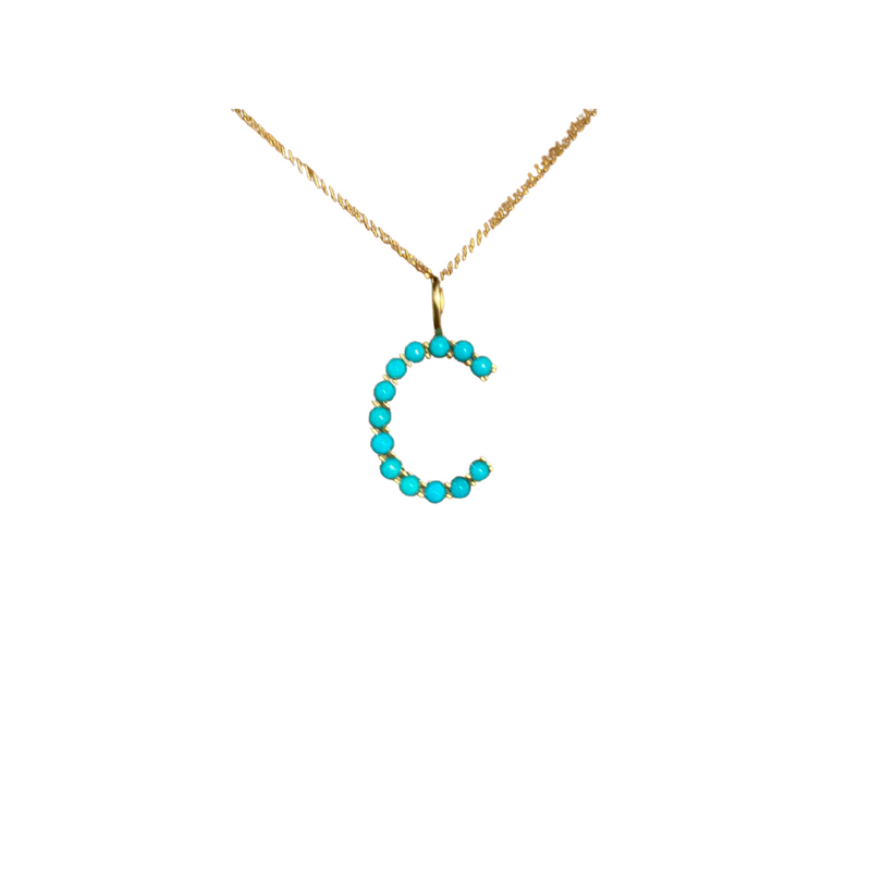 Turquoise and Gold Letter Pendants