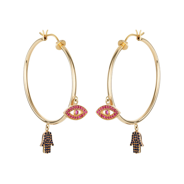Thin Evil Eye Hoops