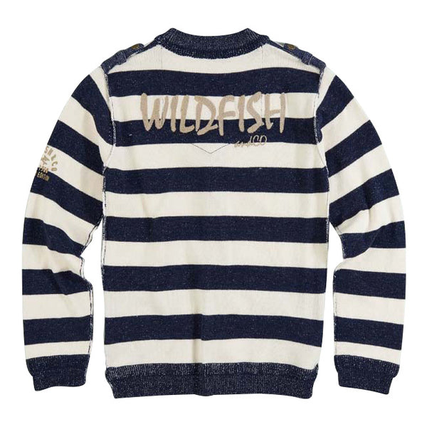 Skip Cardigan Denim Blue/Birch Stripe