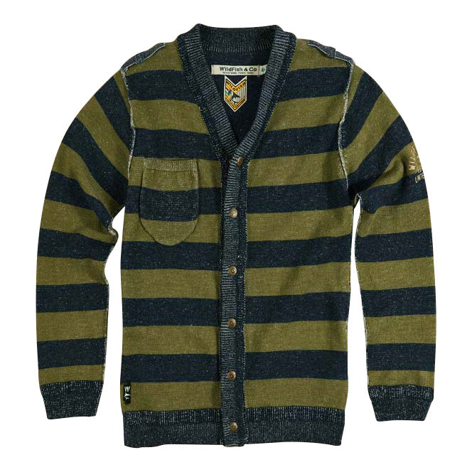 Skip Cardigan Denim Blue/Winter Moss Stripe