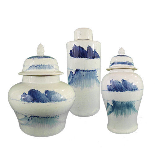 Blue Ceramic Hand Painted Bottle With Lid Ⅰ