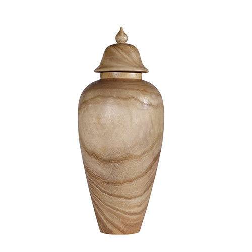 Natural Paulownia Covered Wood Temple Jar