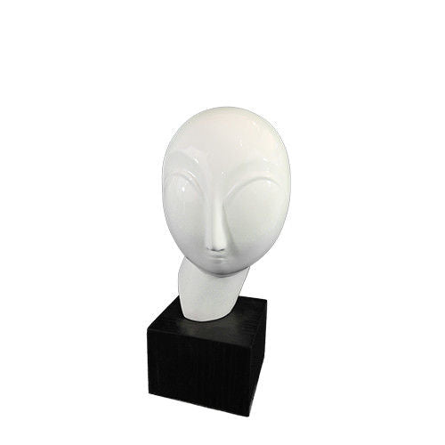 Modern Face Shaped Resin Sculpture White on Black Stand Ⅱ