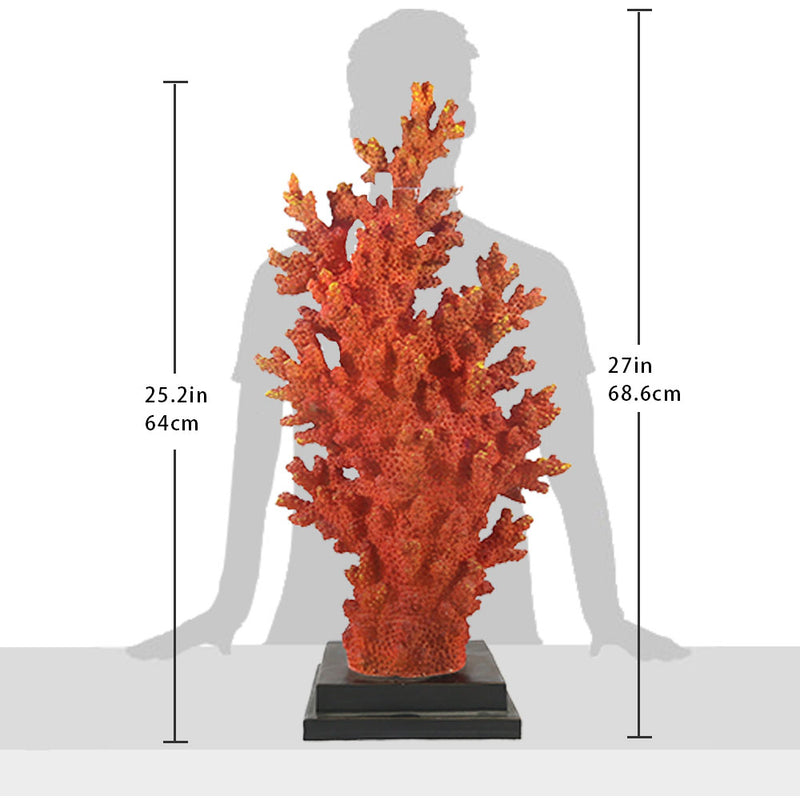 Large Orange Coral Reef Home Decoration