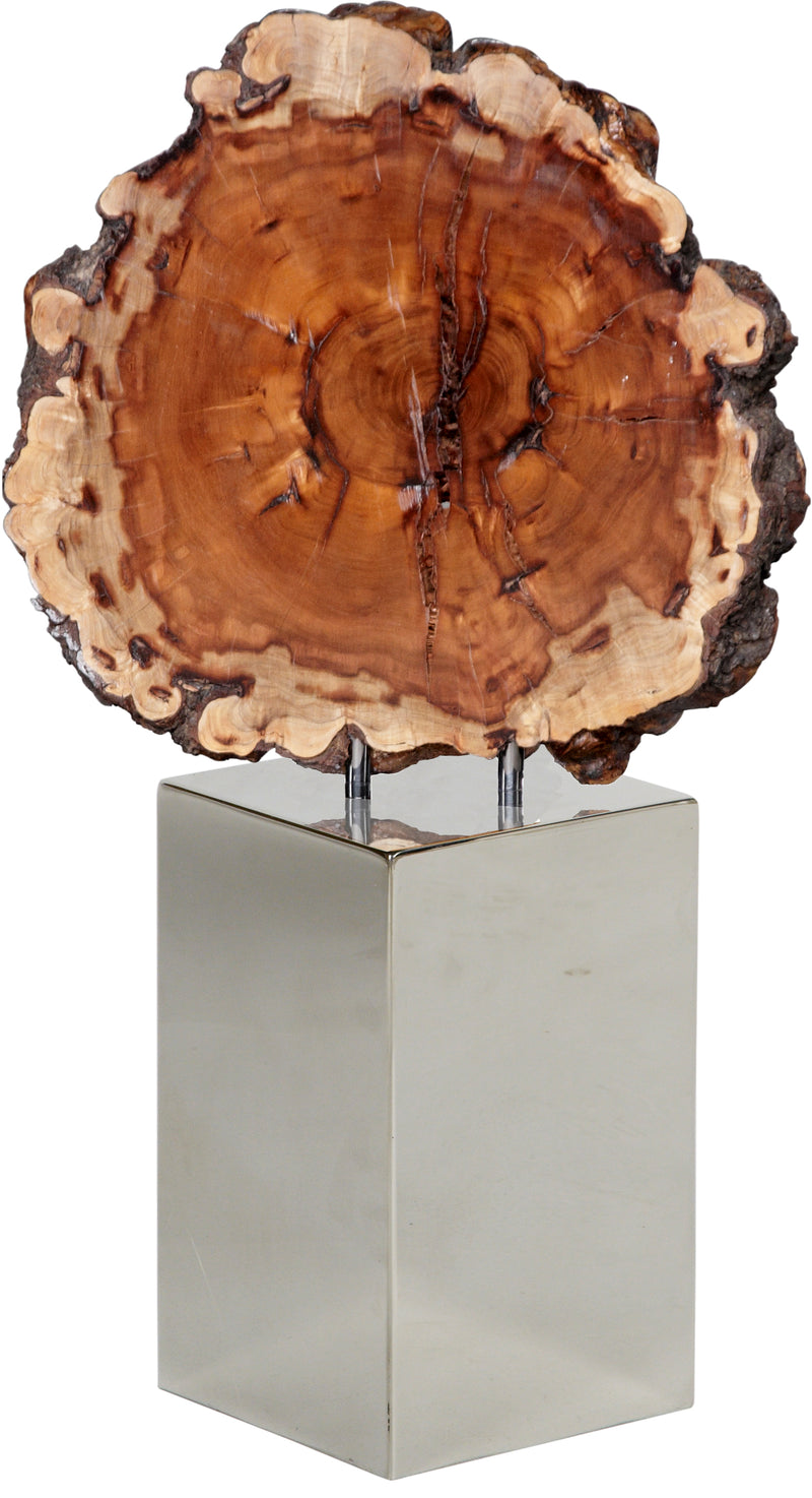 Gloss Wood Slice on Stainless Steel Pedestal Ⅰ