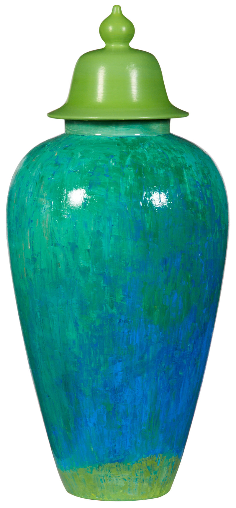Green Blue Ceramic Hand Painted Jar with Lid