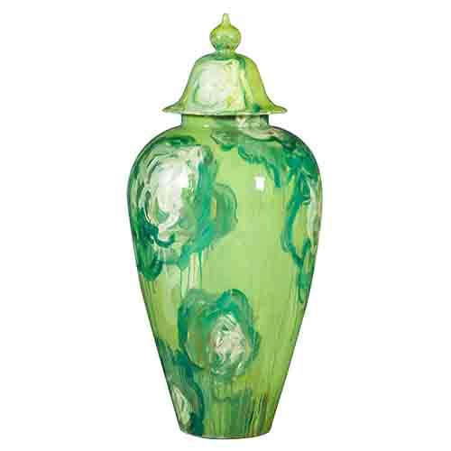 Green Ceramic Hand Painted Jar with Lid