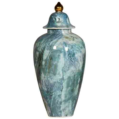 Blue Hand Painted Jar with a Golden Knob on the Lid