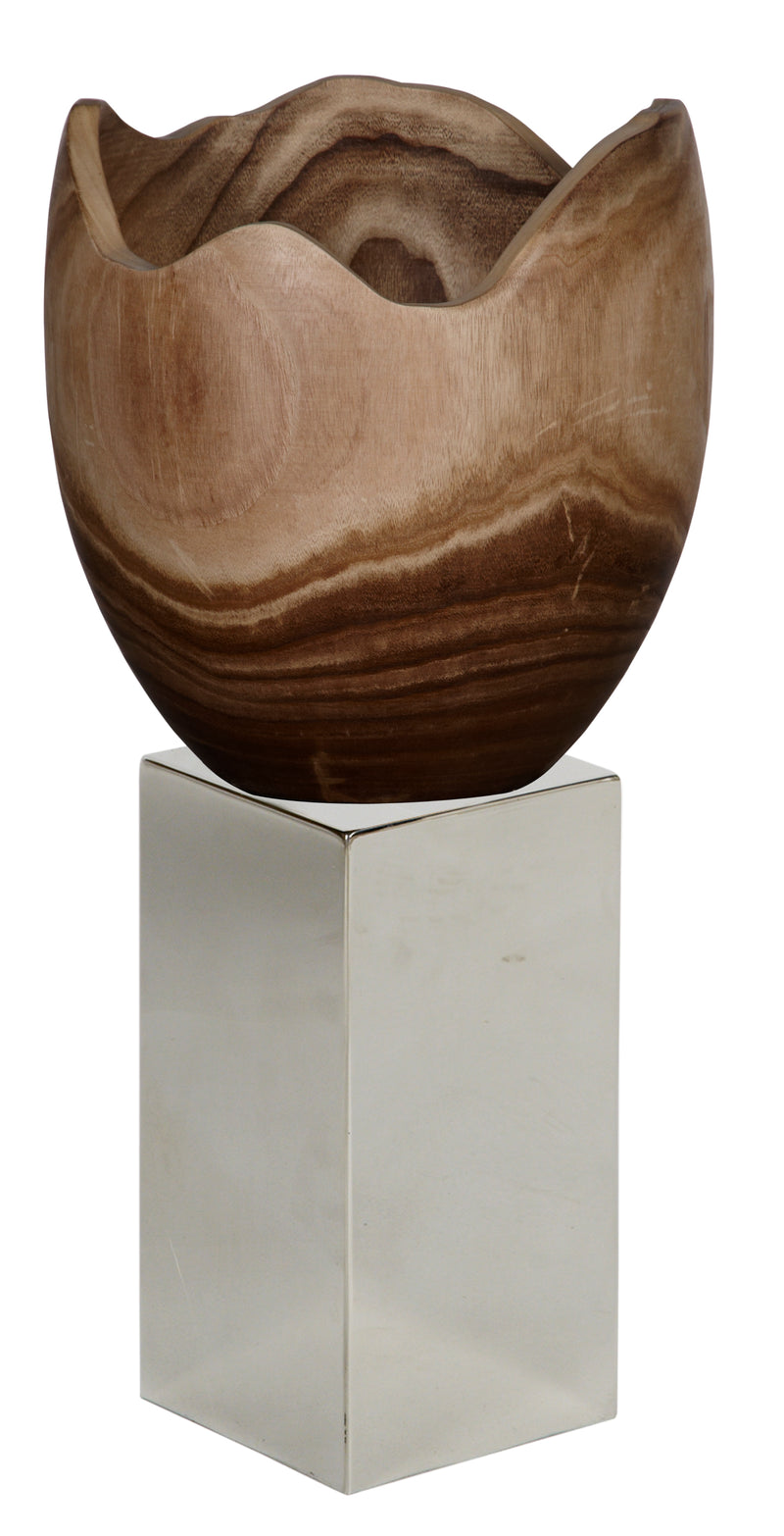 Paulownia Wooden Bowl on Stainless Steel Platform Ⅲ