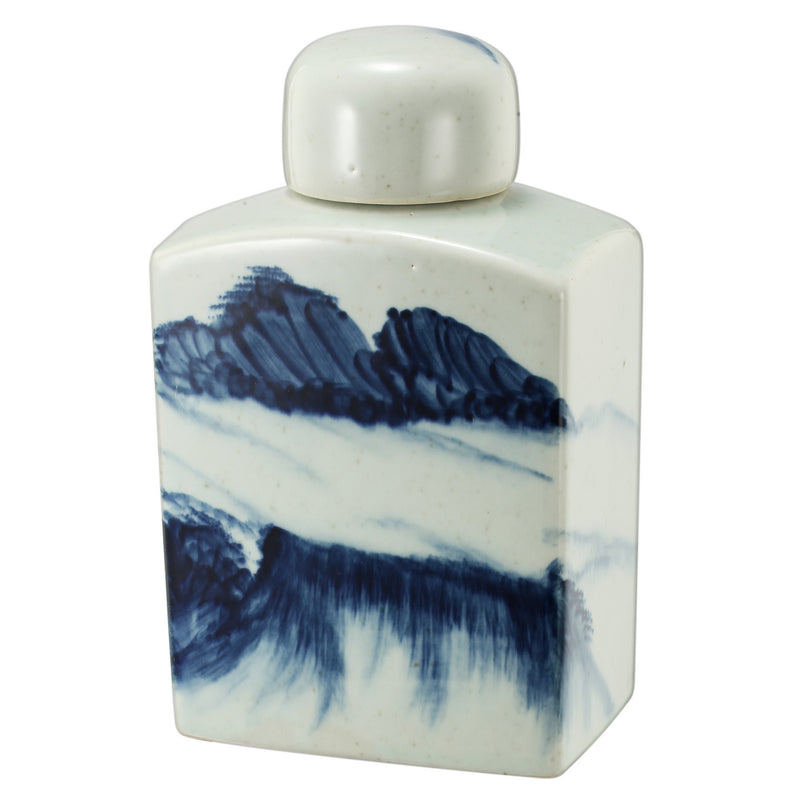 Blue Ceramic Hand Painted Bottle With Lid Ⅴ