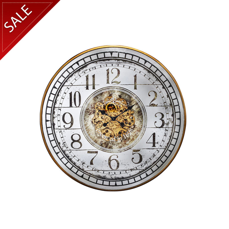 Round Extra Large Metal and Mirrored Clock