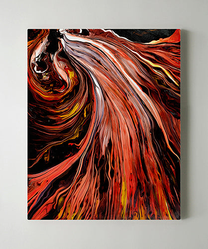 Electric Red Handmade Painting