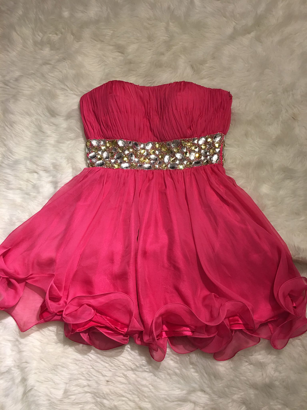MD Consignment Strapless Embellished Sheer Bodice Short Fuchsia Prom Dress