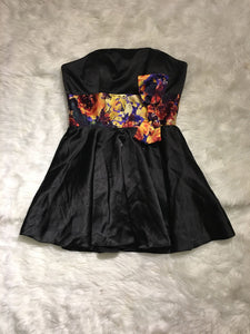MD Consignment Strapless Black Mini Dress with Flowered Waist