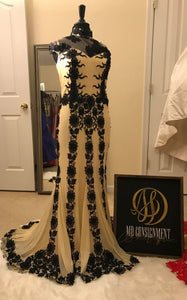 Black and Creme Evening Gown