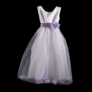 White and Purple Flower Girl Dress