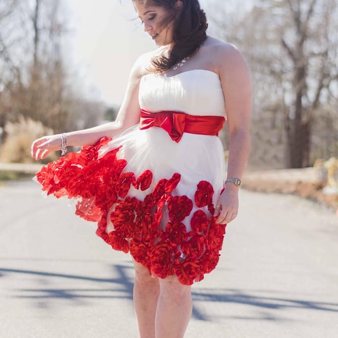 Red and White Rose Prom Dress
