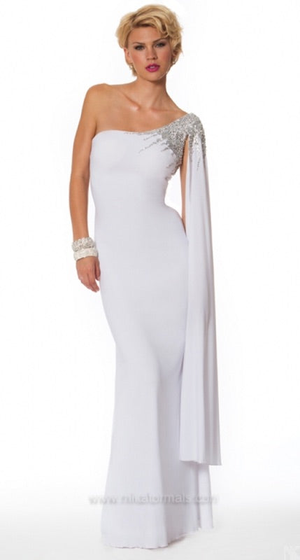 White One Shoulder Formal Gown