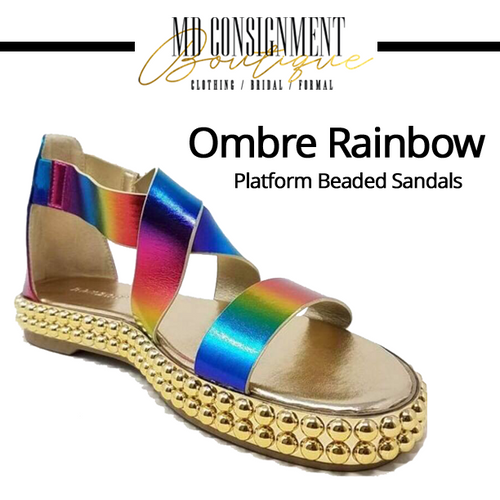 Ombre Rainbow Platform Beaded Sandals