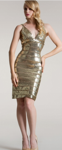 MD Consignment Metallic Gold cocktail dress