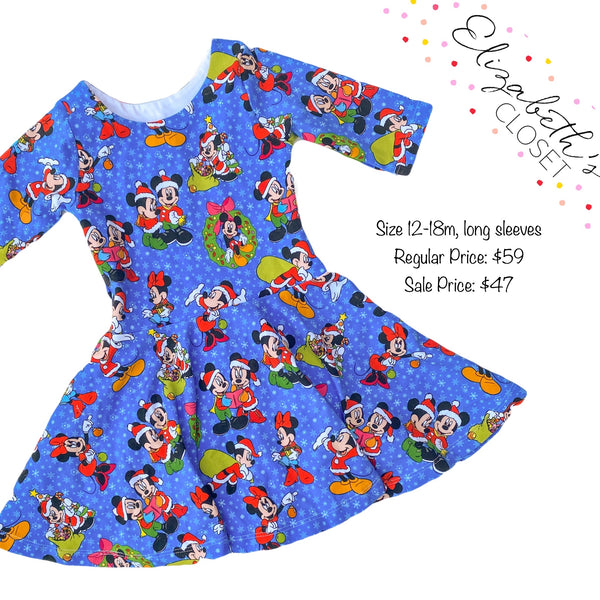 Blue Mouse Christmas Dress, size 12-18m, long sleeves