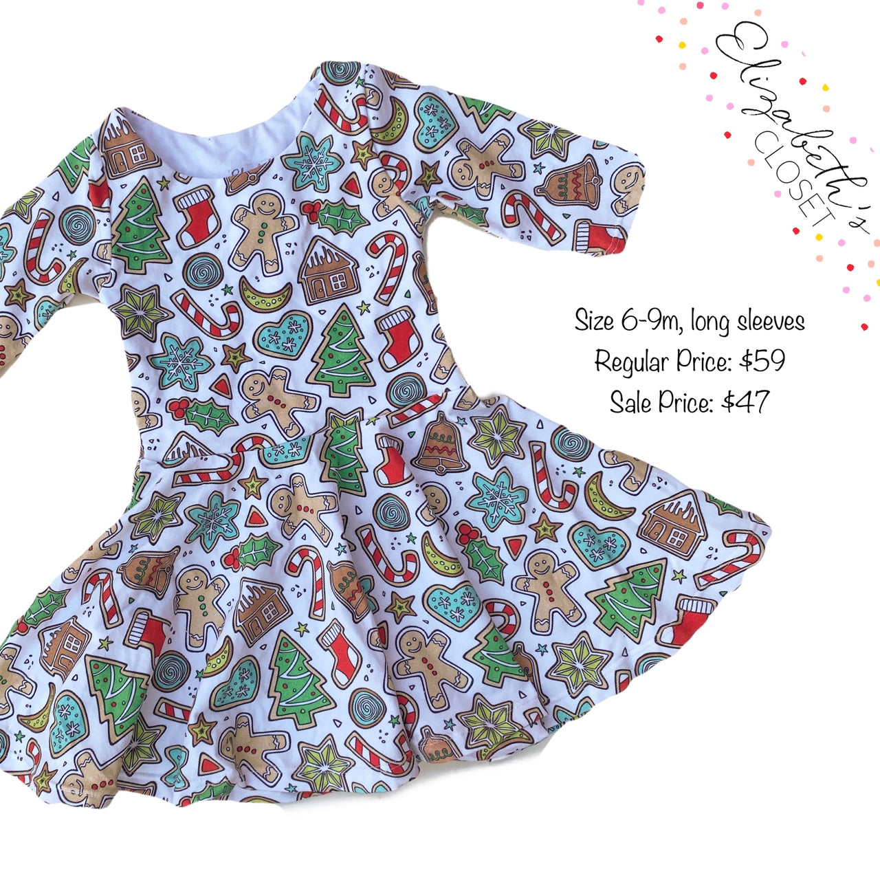 Christmas Cookies Dress, size 6-9m, long sleeves