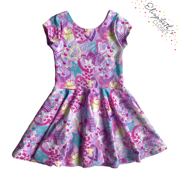Purple Splatter Heart Twirl Dress