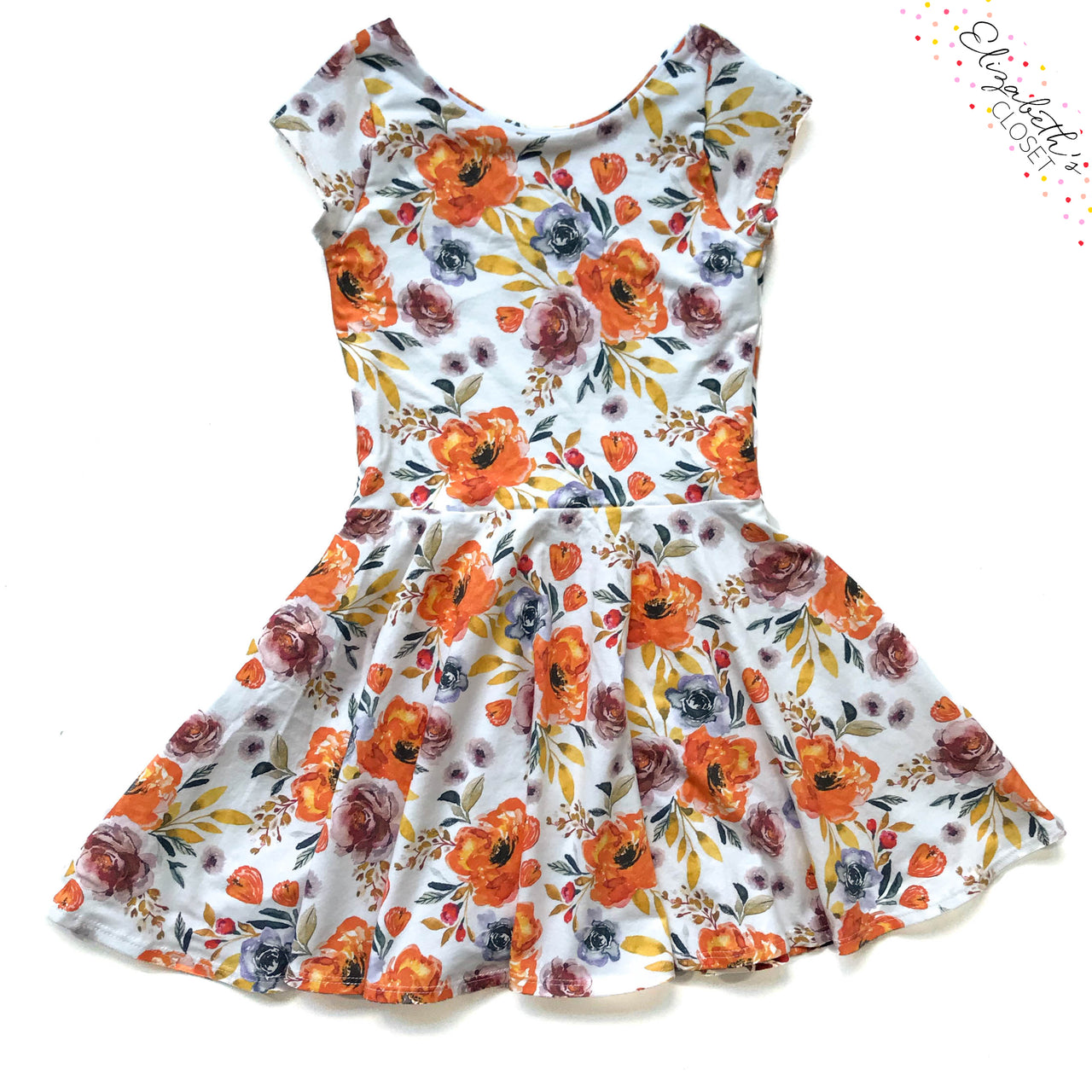 Orange Fall Floral Dress - Twirl Dresses