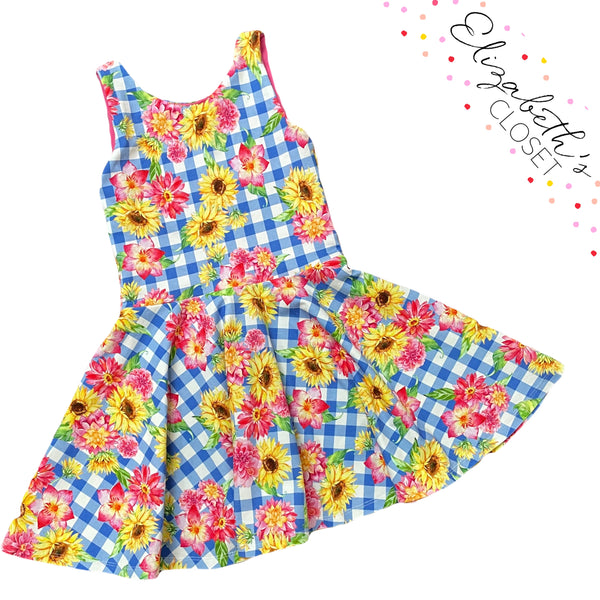 Gingham Sunflower Dress