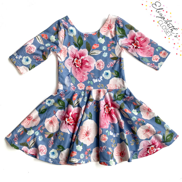 Blue Floral Twirl Dress
