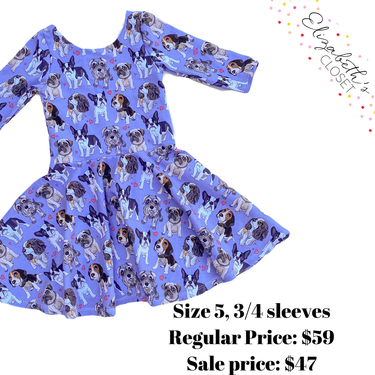 Blue Dogs Dress, size 5, 3/4 sleeves